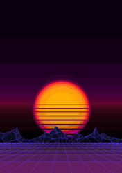 Retrowave Sunset by zwitter-ion