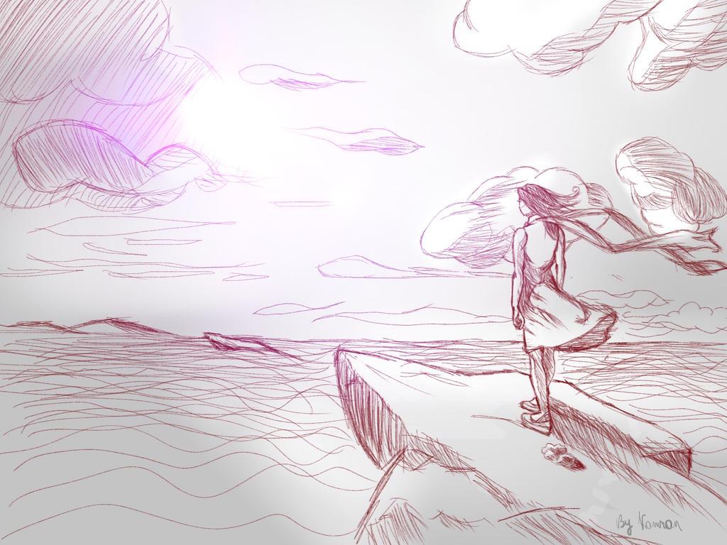 Seaside Girl -(see the description for timelapse) by KazehayaSenpai