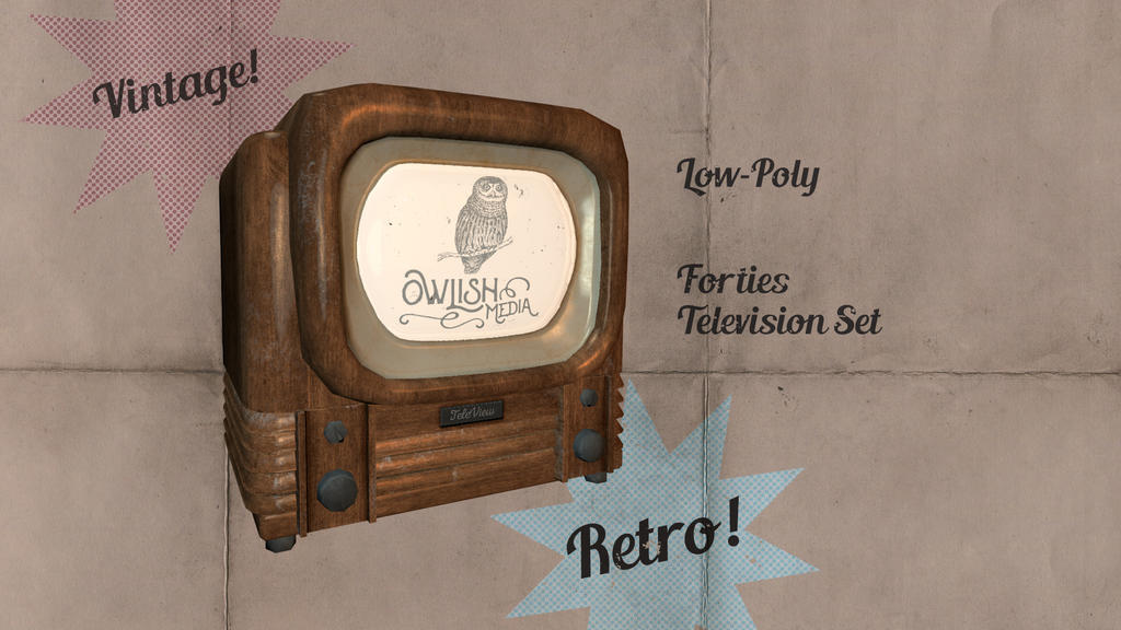 Old Timey 1940s Television low-poly 3D Model by Natnie
