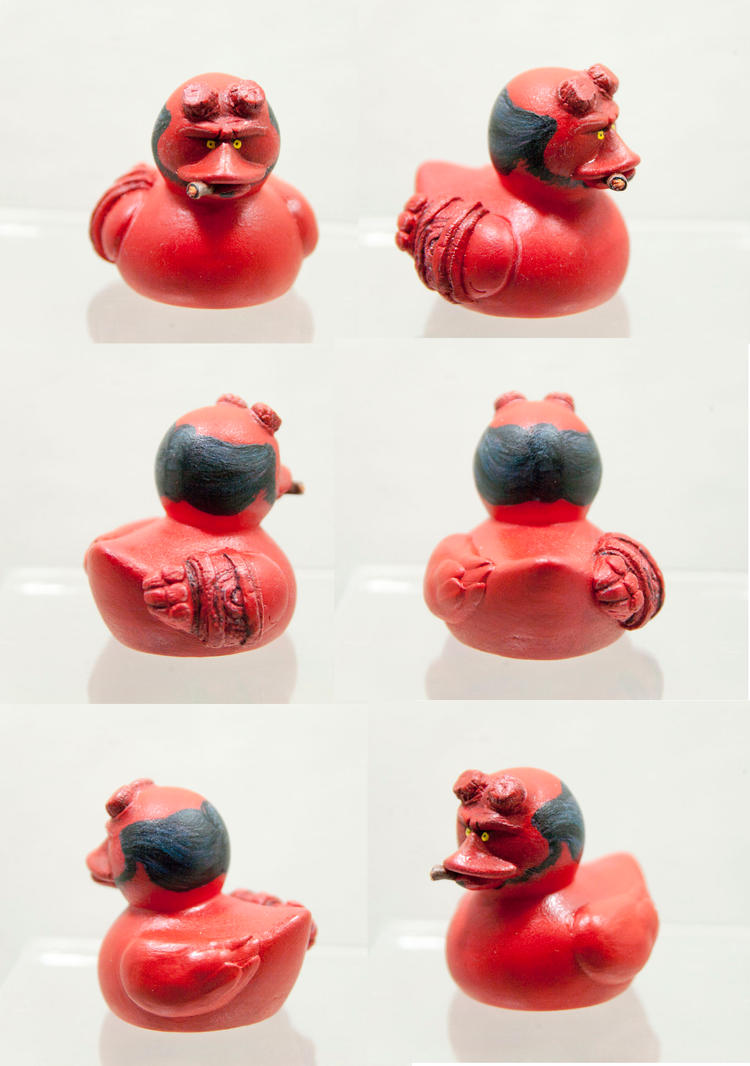 OOAK Hellboy Rubber Duck by cristarowe
