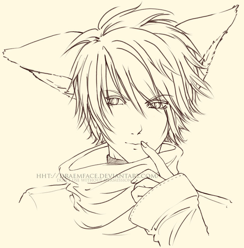 Fox Boy Lineart By Draemface On Deviantart Anime Boy And Coloring Pages