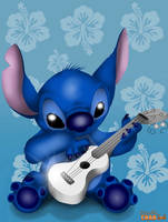 Stitch and his guitar by doodlecrab