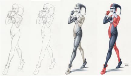 Harley Quinn color progression by JamesLynch