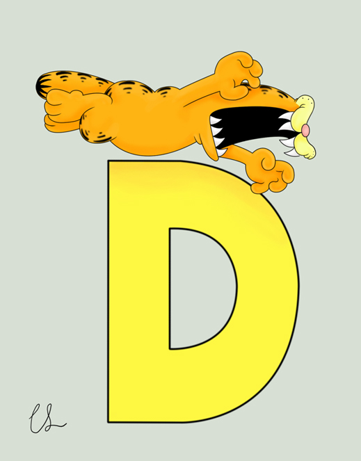 Garfield alphabet - D by lambini