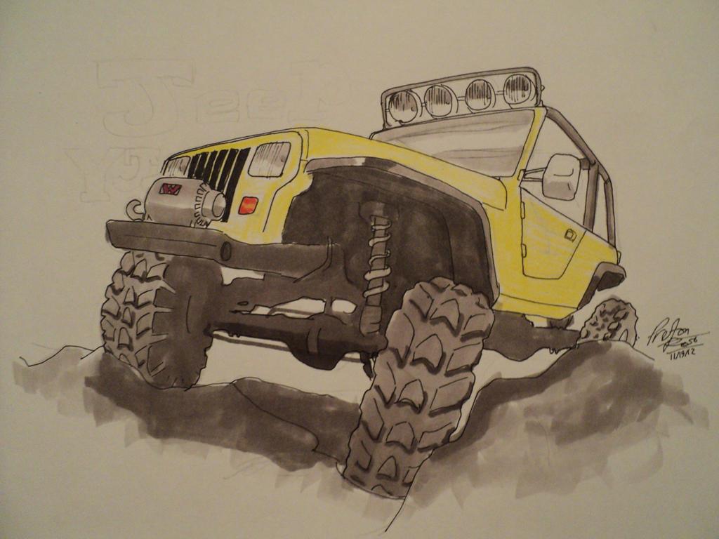 Rock Crawler Art : Jeep yj rock crawler drawing by prestonthecarartist on