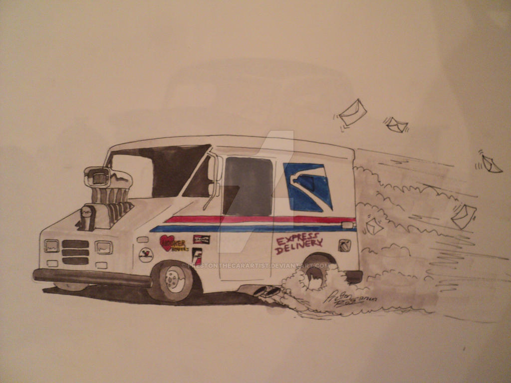 US postal service truck hot rod drawing by prestonthecarartist on ...