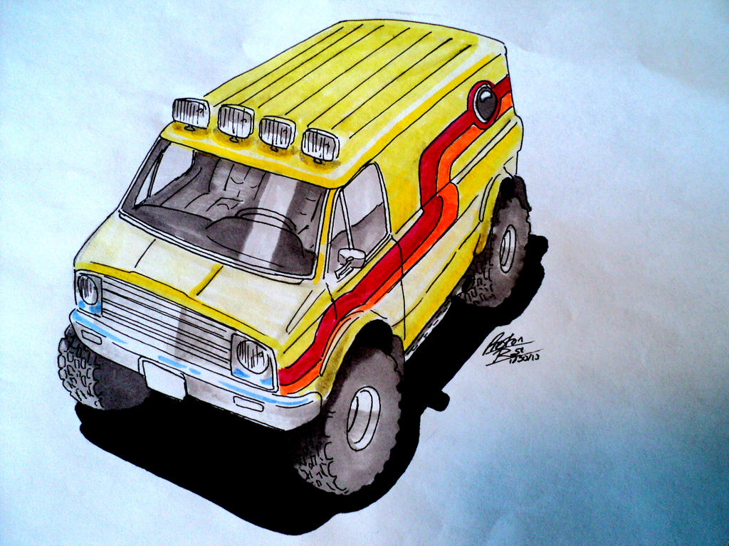 Custom Chevy Van Drawing By Prestonthecarartist On Deviantart