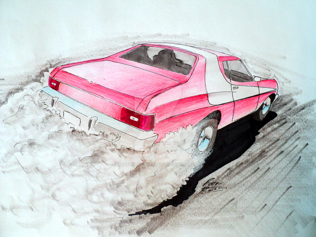Starsky And Hutch 1976 Ford Gran Torino Drawing By