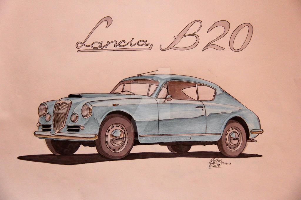 Lancia Aurelia B20 Drawing by prestonthecarartist