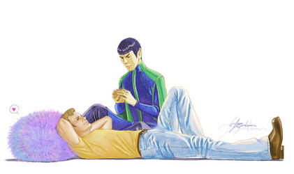 Kirk and Spock and tribbles by ayumi-lemura