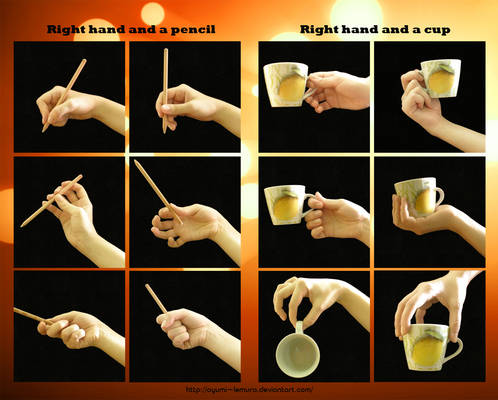 Right Hand, a Pencil and a Cup