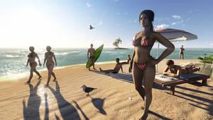 Lara Croft in the beach