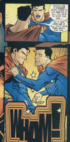 Ultraman kicked Superman in the crotch.