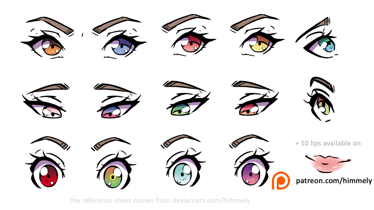 Anime Eyes Reference Sheet Color Inspirations By Himmely On Deviantart