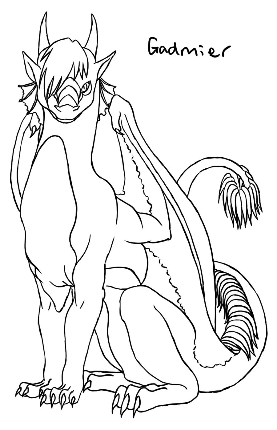 Dragon Lineart : Gadmier dragon lineart by aironshiroi on deviantart