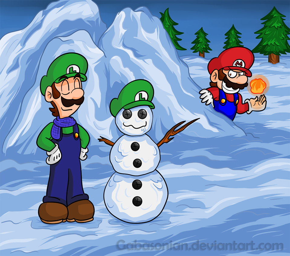 Luigi's Snowman by Gabasonian