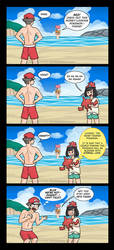 The Beach is Dyed Red and Blue... by Gabasonian