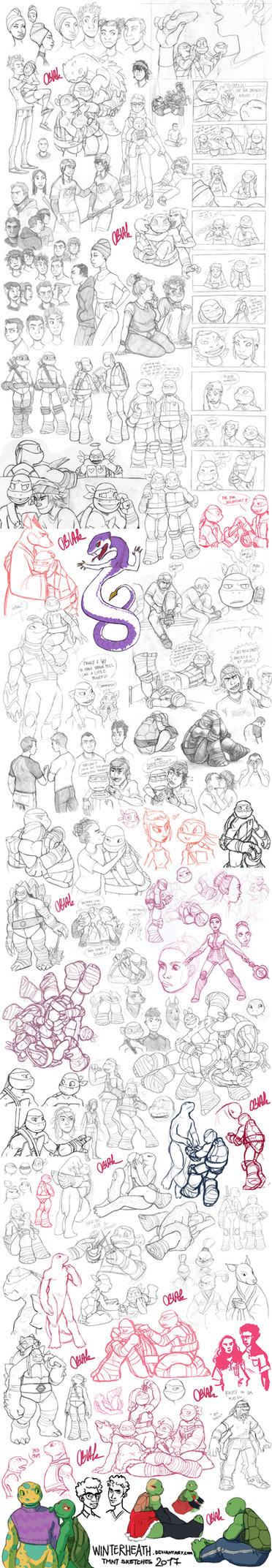 TMNT Sketch Dump 2017 by WinterHeath