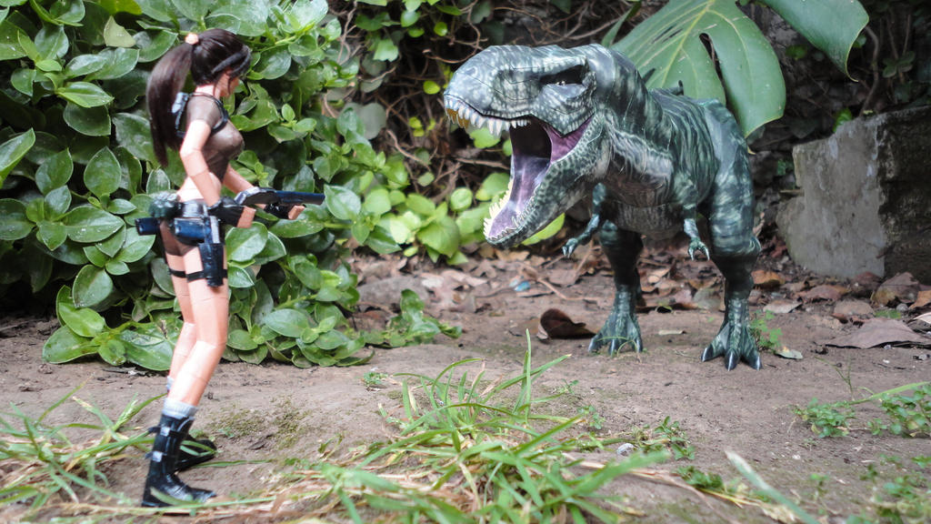 Lara Croft VS T-Rex by BRSpidey