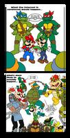 Teenage Mutant Ninja Turtles vs. Super Mario Bros. by TuxedoMoroboshi