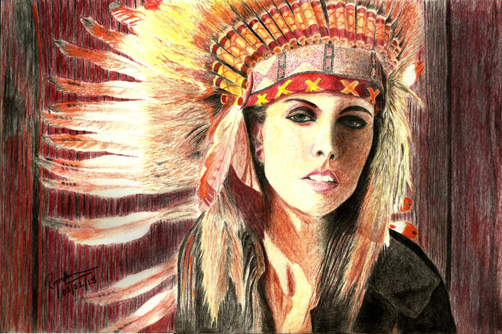 Native Indian Girl Color Pencil Drawing By Enzofrenzy On