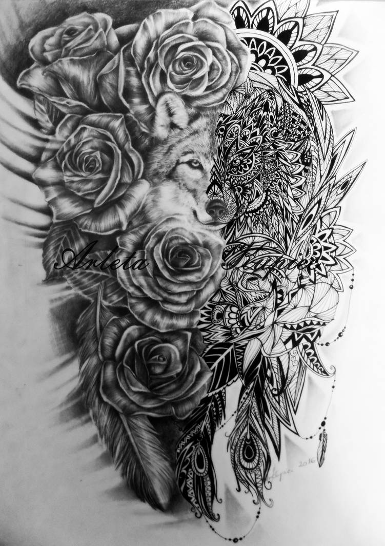 The project on the tattoo - Wolf with mandala amon