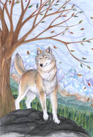 Fall with wolf. by Tirana-Weaving