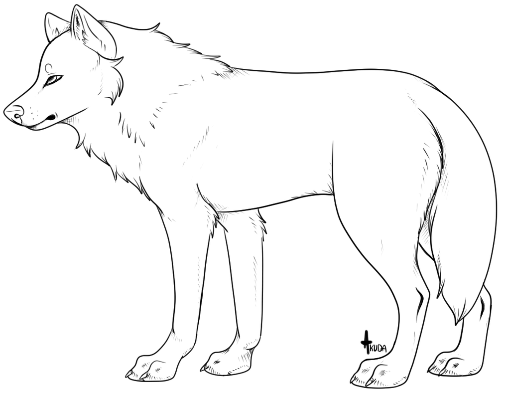 Wolf Lineart : Another generic wolf lineart template by stelliformed on