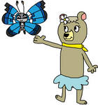 Cindy Bear and Vivillon (Marine Pattern)