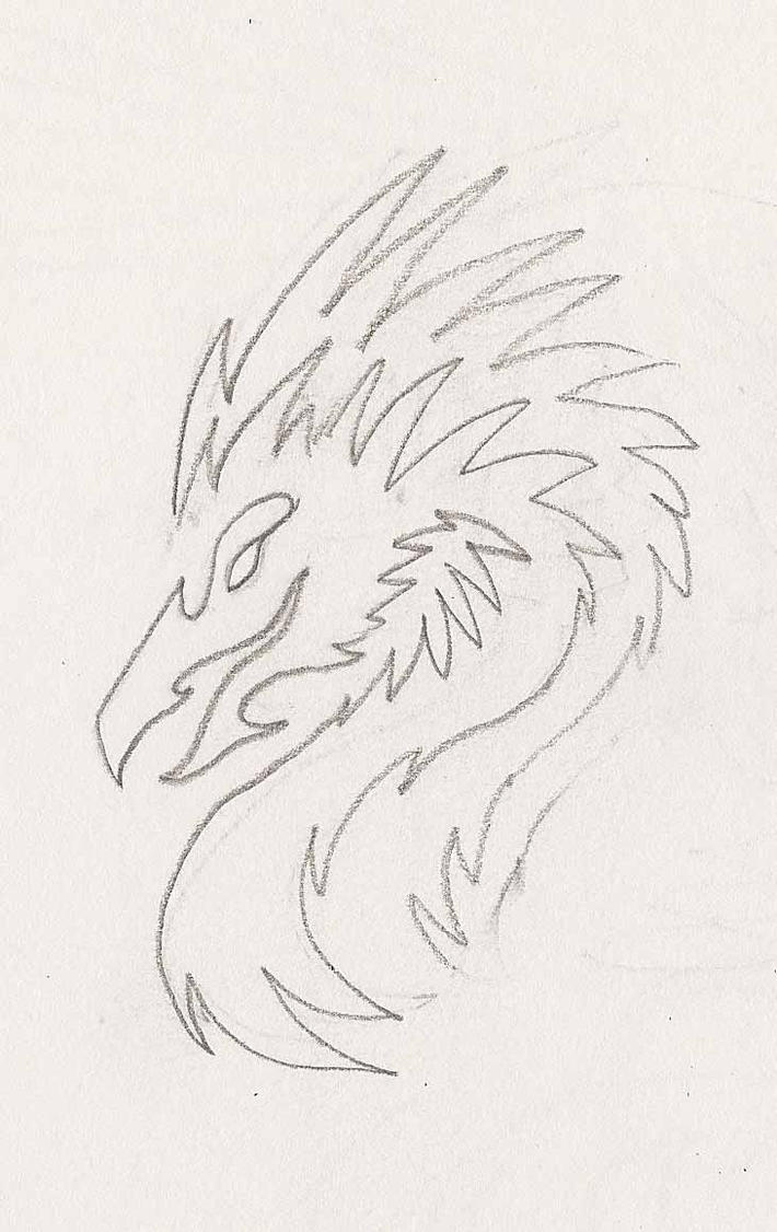 One Line Phoenix Head Doodle by DarkPhoenixDragon17