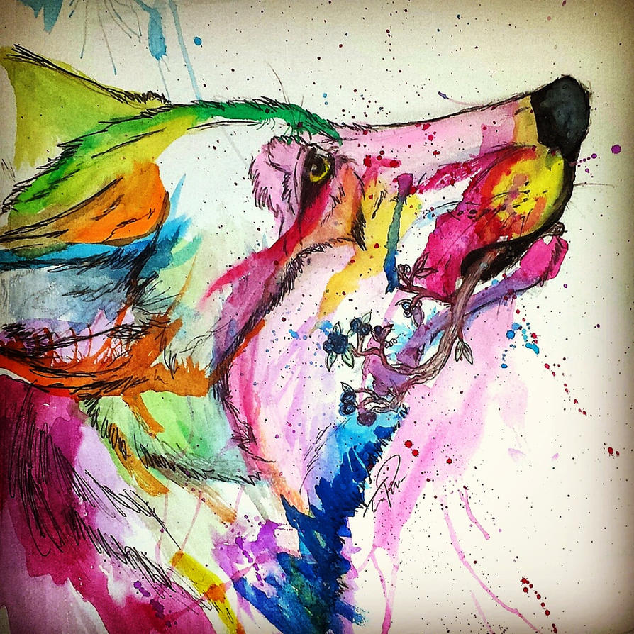 Blueberries water color wolf splash by bloodlinewolf76