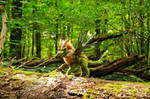 Poseable art doll, forest dragon