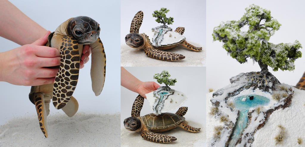 Poseable art doll, winter world bearer sea turtle
