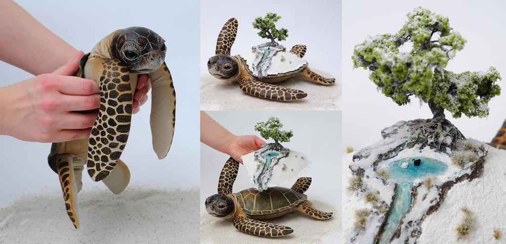 Poseable art doll, winter world bearer sea turtle