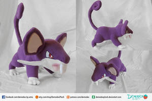 Rattata Plush by DemodexPlush