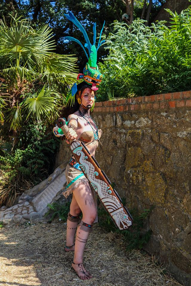 Aztec warrior original cosplay by DemodexPlush