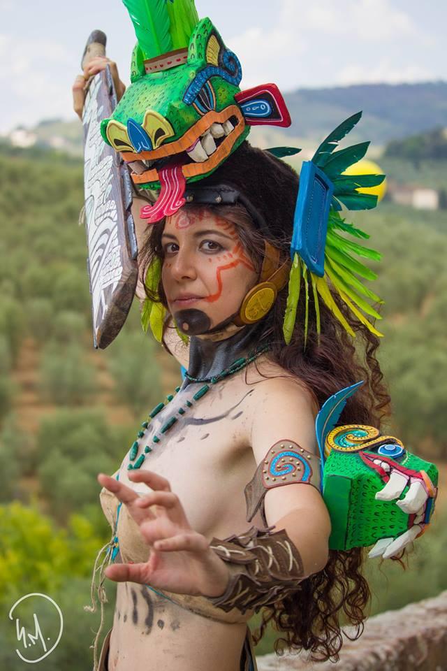 Aztec warrior original cosplay by DemodexPlush