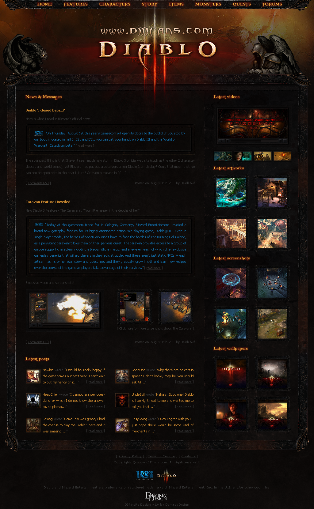 Diablo 3 Fansite Template by NicotineLL on DeviantArt
