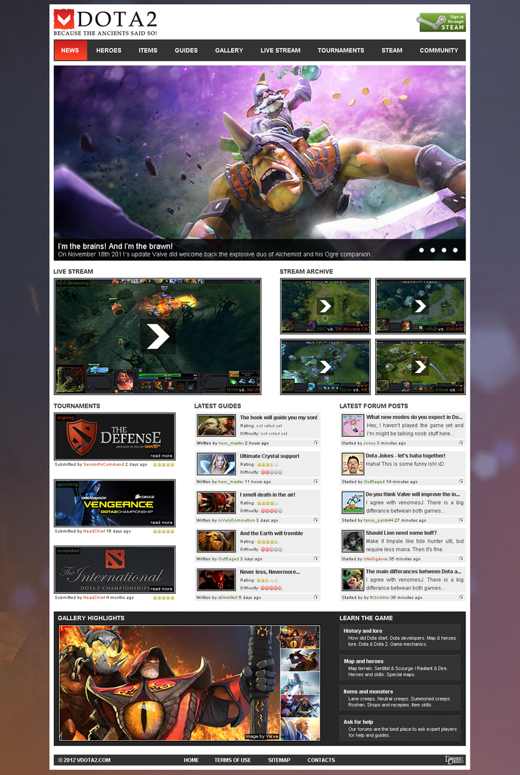 Dota 2 Fansite Template by NicotineLL on DeviantArt