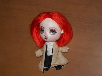 Chibi Agent Dana Scully mini art doll cartoon by LilliamSlasher