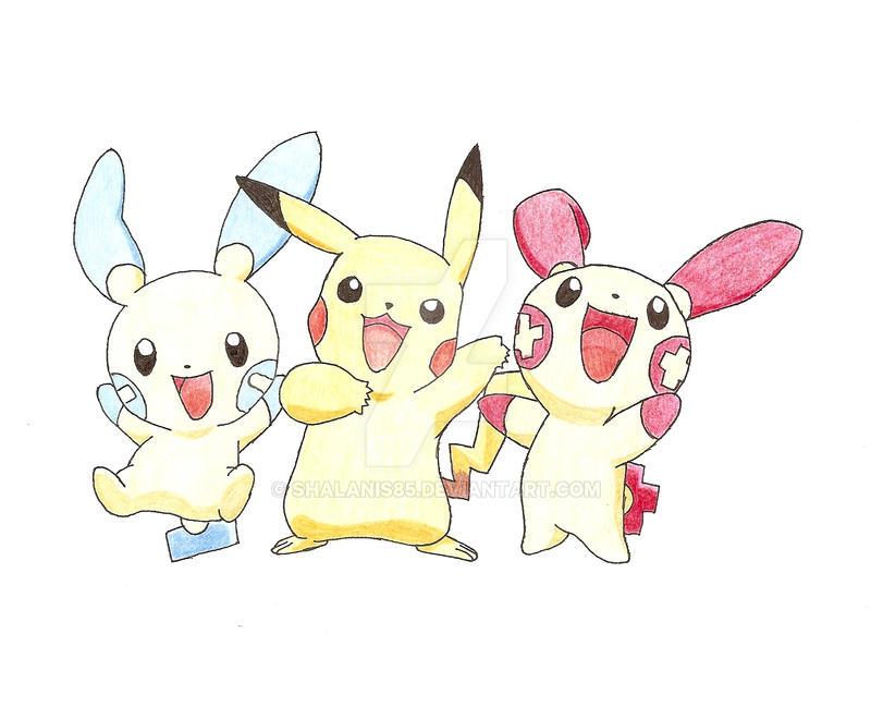 Minun- Pikachu Plusle+ by Shalanis85