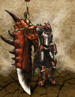 Rathalos Armored Hunter with GREAT Sword by HiCeeVee