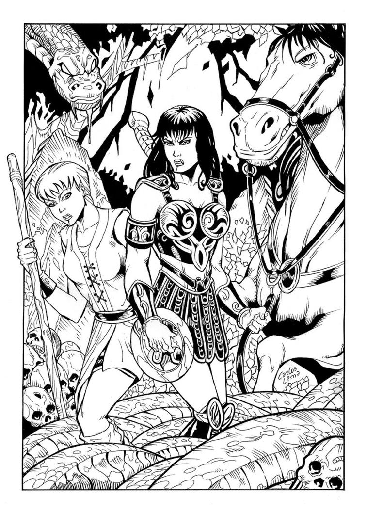 Xena Pinup Pencil Inks by carloslima