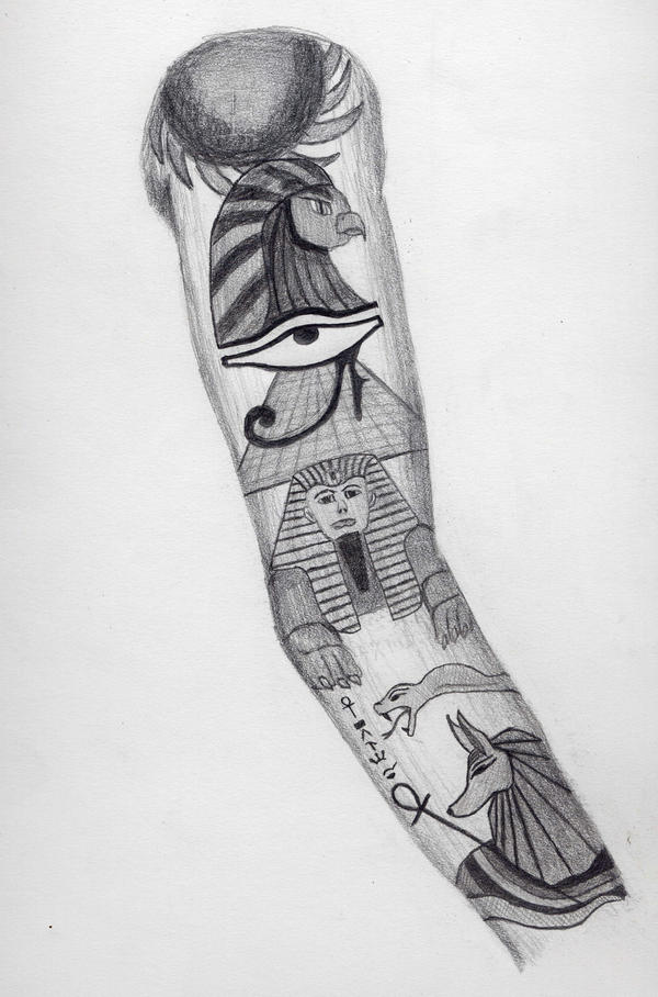 Egyptian Sleeve Tattoo Design by BringTheKaos