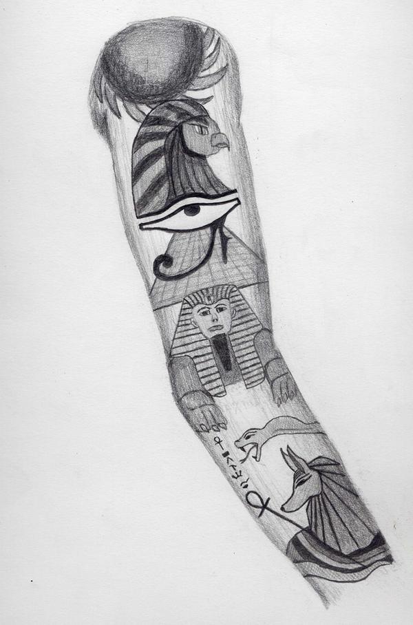 Egyptian Sleeve Tattoo Design by BringTheKaos