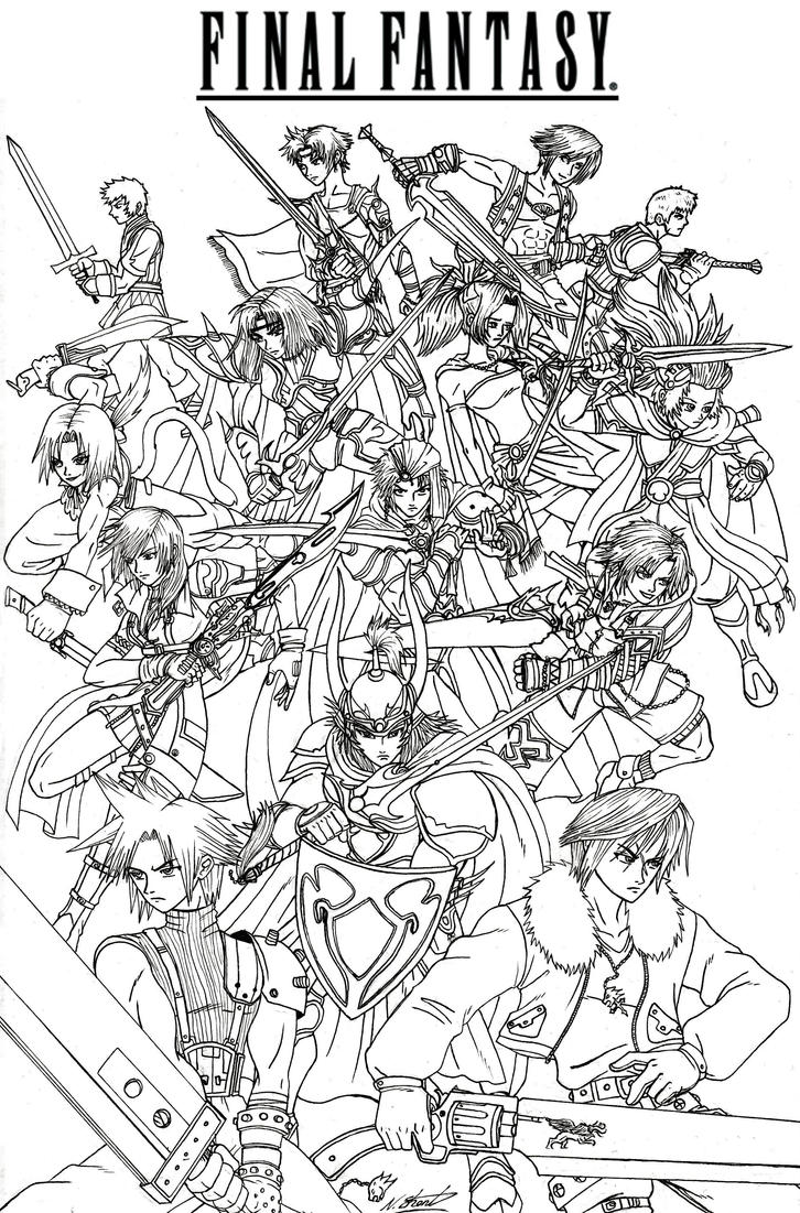 final fantasy coloring pages final fantasy heroes by taresh on deviantart