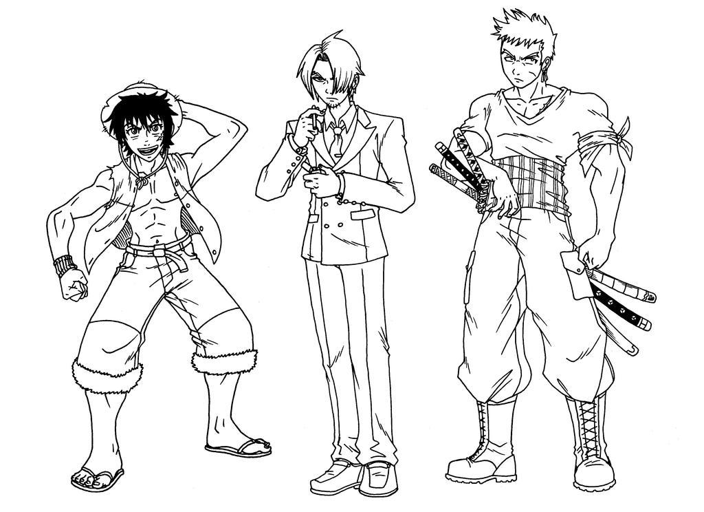 Luffy Sanji Zoro my style by taresh