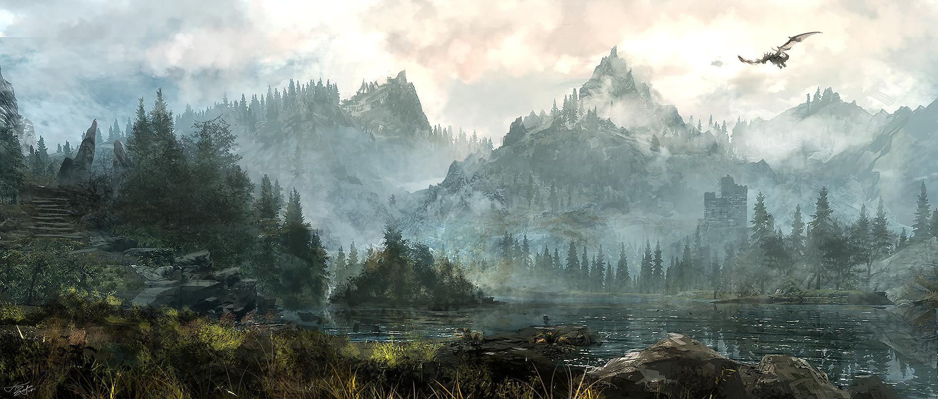 Skyrim landscape by tnounsy