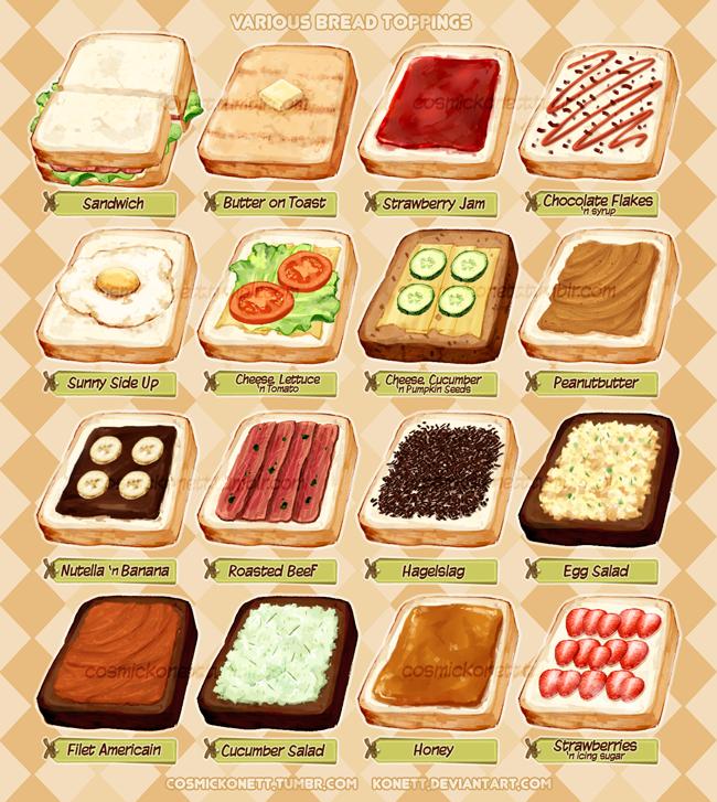 Various Bread Toppings by Konett