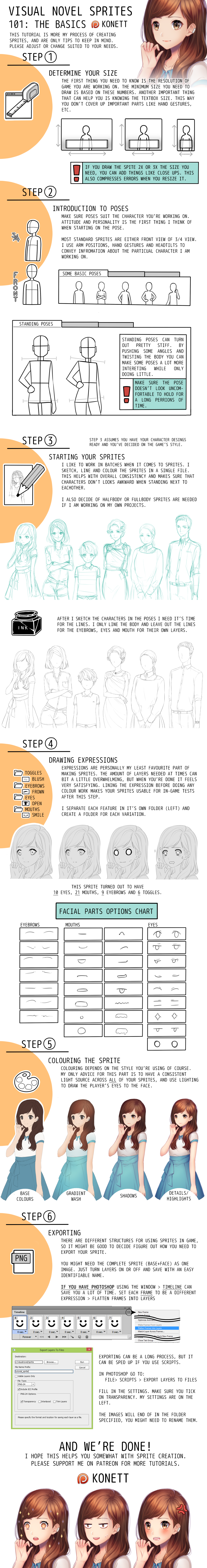 TUTORIAL - Visual Novel Sprites 101 by Konett